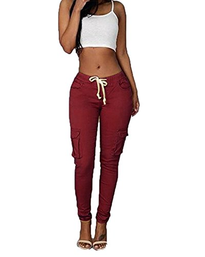 FOURSTEEDS Womens Cotton Knite a Side Pocket High Waist Straight Causal Pants