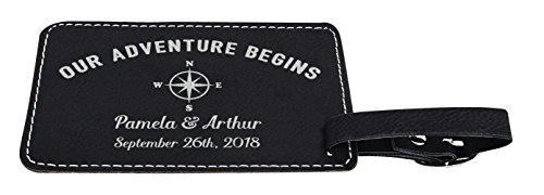 Personalized Wedding Anniversary Gifts Custom Names & Date Our Adventure Begins Personalized Wedding Gifts Personalized 2-pack Laser Engraved Leather Luggage Tags Black by Personalized Gifts (Image #3)