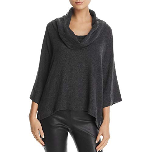 Dot Sweater Top - Three Dots Women's Brushed Sweater Cowl Loose Long Top, Charcoal, Xtra Small