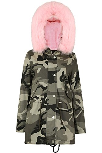 Girl Talk Clothing Womens Camouflage Pink Fur Lined Zip U...