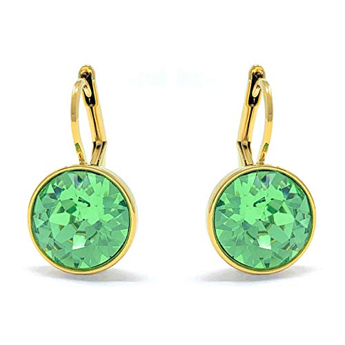 Bella Mini Drop Earrings with Green Peridot Round Crystals from Swarovski Gold Plated ()