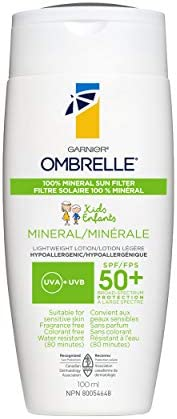Garnier Ombrelle Mineral Kids Sunscreen SPF 50+, Suitable for Sensitive Skin, 100% natural origin sun filter,