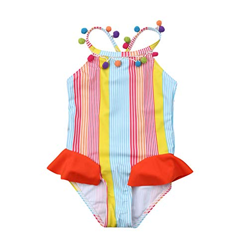 - Toddler Baby Girl Rainbow Swimsuits Kids Colorful Striped Backless Strap Swimming Beach Wear Bodysuit Bikini(6-12 Months)