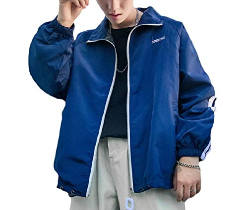 MogogoMen Juniors Athletic Fit Lightweight Full-Zip Relaxed Jacket Coat Blue