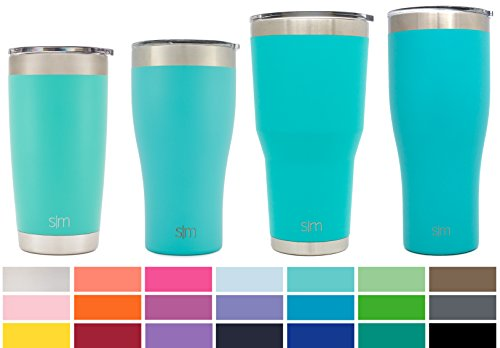 Simple Modern 22oz Slim Cruiser Tumbler - Vacuum Insulated Double-Walled 18/8 Stainless Steel Hydro Travel Mug - Powder Coated Coffee Cup Flask - Caribbean Blue