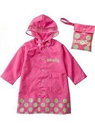 SKL Unisex Kid's Fashion Waterproof Cartoon Raincoat for boy or girl,4 sizes,3 colors (XL, Pink)