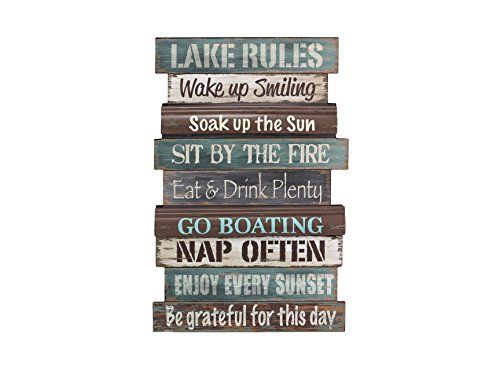 Young's Wood Lake Rule Wall Sign, (Rules Wall Hanging)