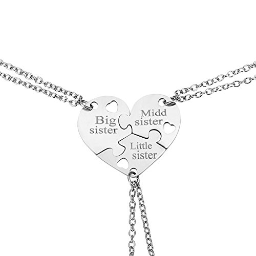 Birthday Gift for Little Middle Big Sister Heart Puzzle Pendant Necklace Set?Three Sisters - Charm Laser Sis