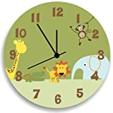 Jungle Animal Personalized WALL CLOCK for Boys Bedroom, Jungle Nursery Room Decor