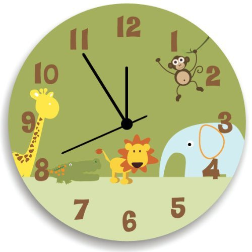 Jungle Animal Personalized WALL CLOCK for Boys Bedroom, Jungle Nursery Room Decor by Kid'O Design Studio