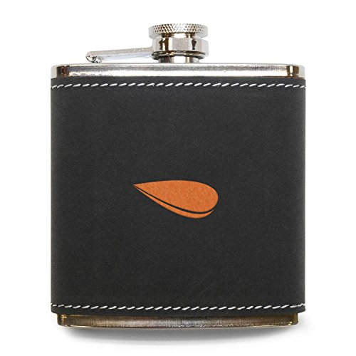 (MODERN GOODS SHOP Mussel Flask - Stainless Steel Body With Grey Leather Cover - 6 Oz Leather Hip Flask - Made In USA )