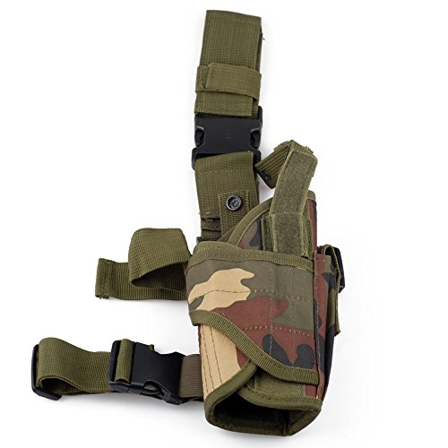 Cisno Drop Leg Adjustable Right Handed Tactical Thigh Pistol Gun Holster (Camo)