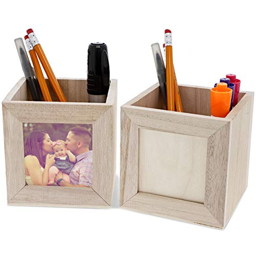 Unfinished Wooden Pen Picture Frame Pen and Pencil Office Cup Holder for DIY Crafts, 4 x 4 Inches