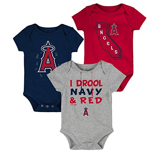 "MLB Newborn Infants""Big Time Fan"" 3 Piece Bodysuit Creeper Set (3/6 Months, Los Angeles Angels)"