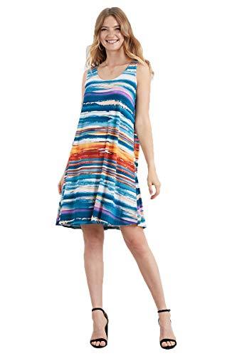 (Jostar Women's Stretchy Missy Tank Dress Print X-Large Multi)