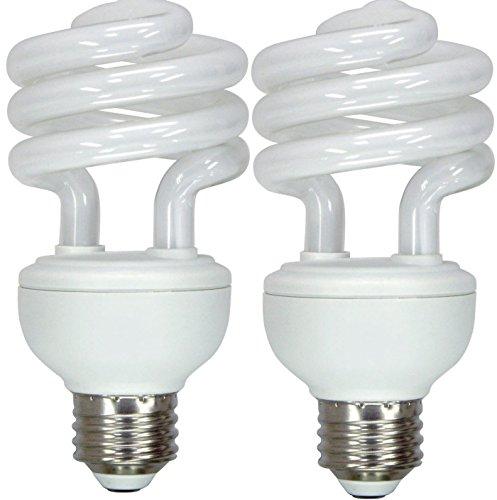 GE Lighting 15519 Energy Smart Spiral CFL 23-Watt (100-watt replacement) 1600-Lumen T3 Spiral Light Bulb with Medium Base, 2-Pack ()