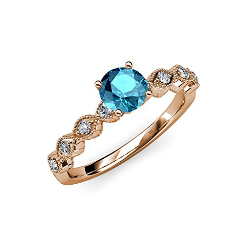 Blue Topaz Milgrain Ring - TriJewels London Blue Topaz & Diamond Milgrain Twisted Engagement Ring 0.88ctw 14K Rose Gold.size 5.5