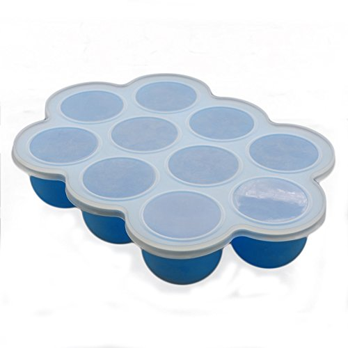 Baby Food Freezer Tray with Lid - Blue Silicone Storage Container for Reusable Food with 10 Cups (2.5 Oz)