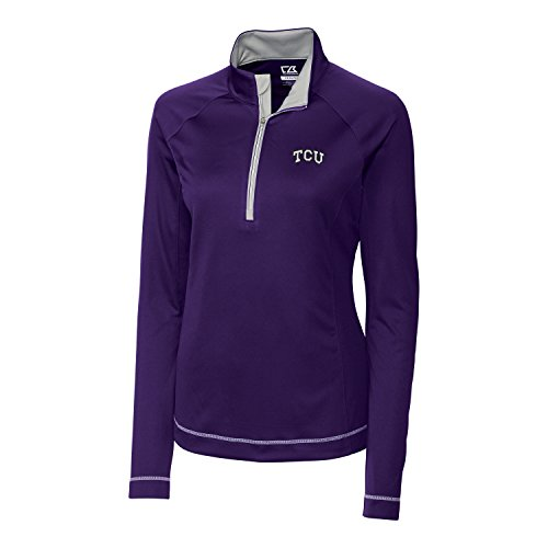 Cutter & Buck NCAA TCU Horned Frogs NCAA Women's CB Dry Tec Long Sleeve Evolve Half Zip Apparel, 3X-Large, College Purple