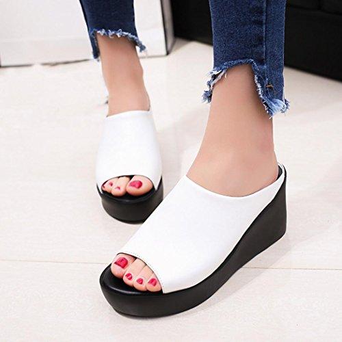 Yesmile-sandales Femme Compensées Femmes Tongs Chaussures Compensées Chaussures de Plage Mules Chausson Pantoufles Été Mode Loisirs Poisson Bouche Sandales Pantoufles de Fond épais Blanc B REZBdOwVPc