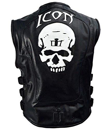 Icon Mens Regulator - Mens Skull Regulator Icon Motorcycle Vest | Black Tactical Biker Genuine Leather Vest (XXXL)