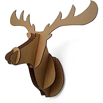 Amazon Paper Maker Cardboard 3D Moose Head Wall Decoration Art