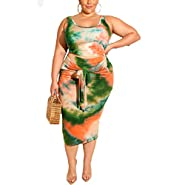 Womens Sexy Plus Size 2 Piece Midi Dress Outfits - Sleeveless Tie Dye Print Tank Crop Top Bodycon Skirts Set