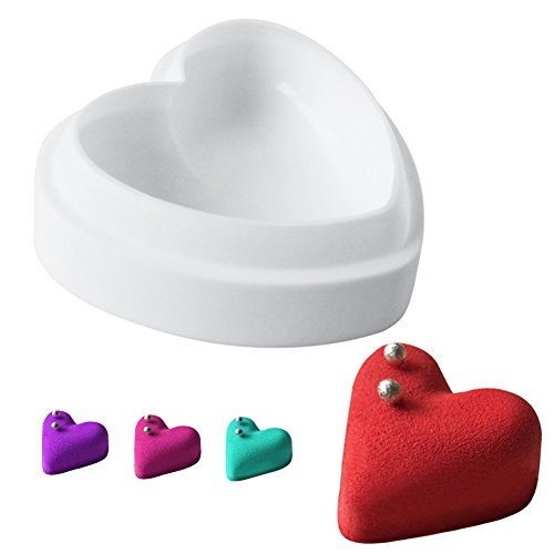 - Aremazing Cake Mold for DIY Mousse Ice Cream Chocolate Dessert Jelly Pastry Silicone Cake Mold Decoration Tools (Heart-shaped)