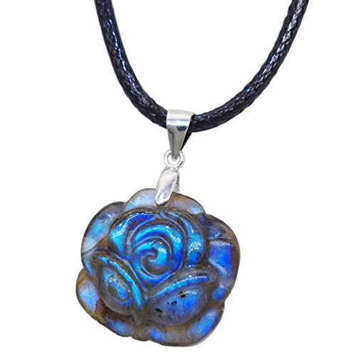 "NATURSTON Gemstone Carving Artist Handmade Rose Flower Pendant Flashy Natural Labradorite Necklace 18"" Women's Jewelry (Small)"