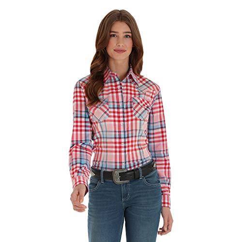 (Wrangler Women's Retro Long Sleeve Fashion Shirt, red Rose, S)