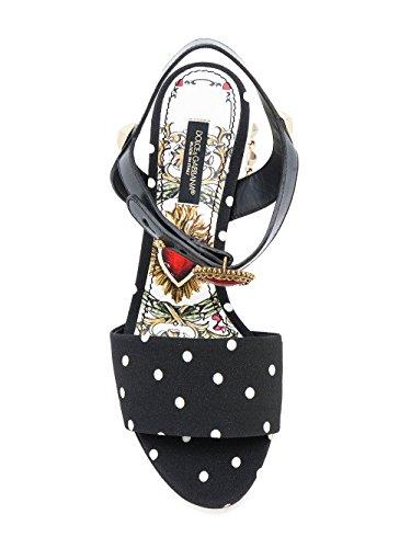 Dolce E Gabbana Vrouwen Cr0533an728hnm70 Wit / Zwart Leren Sandalen