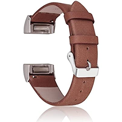 Charge Strap CAM-ULATA Genuine Leather Replacement Bracelet Strap Band Wristband with Metal Connectors for Fitbit Charge Fitness Smart Watch Estimated Price -