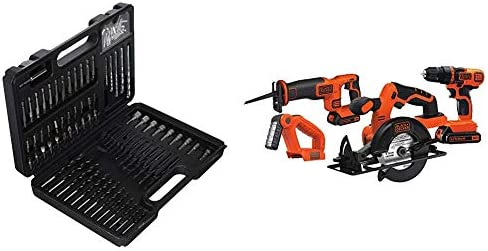 BLACK DECKER BDA91109 Combination Accessory Set, 109-Piece with Black Decker BD4KITCDCRL 20V MAX Drill Driver Circular and Reciprocating Saw Worklight Combo Kit