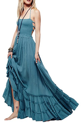 [R.Vivimos Women Summer Cotton Sexy Blackless Long Dresses Medium LightBlue] (Hippie Dress)