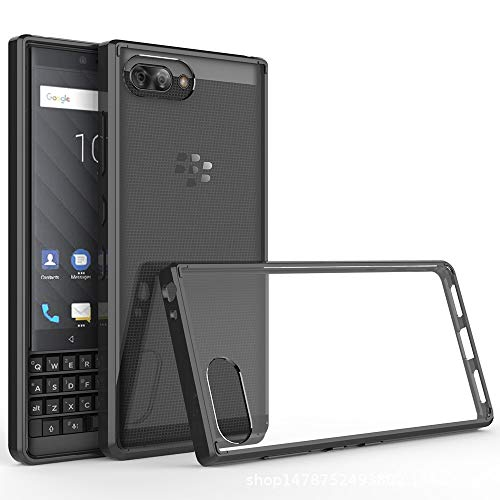 LuckQR Phone Case for BlackBerry KEY2, Soft TPU Bumper and Hard PC Back Case Anti-Scratch Shock Absorption, Crystal Clear Phone Cover Only for BlackBerry KEY2 - Black