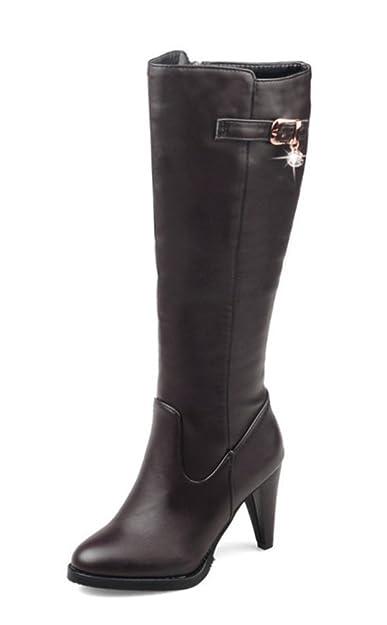 SHOWHOW Damen Sexy Klassischer Winter Boots Spitz High Heels Damenstiefel Beige 34 EU RVOCXV5fv