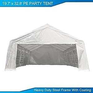 U-MAX 19.7'W x 32.8'D Heavy Duty Outdoor Wedding Carport Canopy Party Tent White with Sidewalls (19.7'W x 32.8'D)