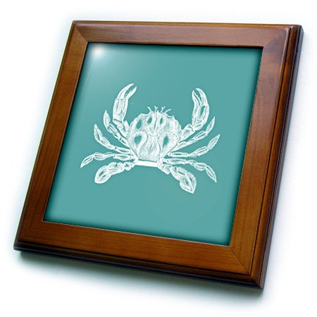 3dRose ft_164898_1 White Crab Etched Teal Turquoise Aqua Blue-Nautical Beach Sea Ocean-Framed Tile Artwork, 8 by 8-Inch