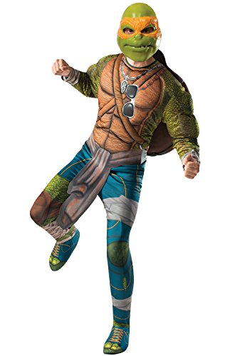 Adult Ninja Turtle Outfit (TMNT Muscle Chest Jumpsuit Adult Michelangelo - Standard)