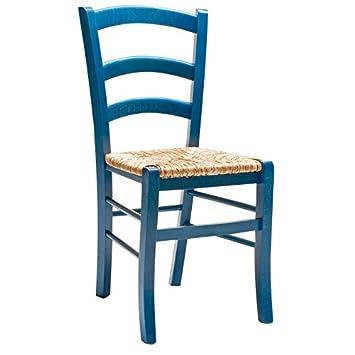 Set x 2 Sedia Legno seduta Paglia colore anilina blu \