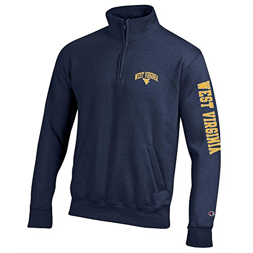 WVU West Virginia Mountaineers Quarter Zip Sweatshirt Letterman Navy - (Mountaineer Zip)