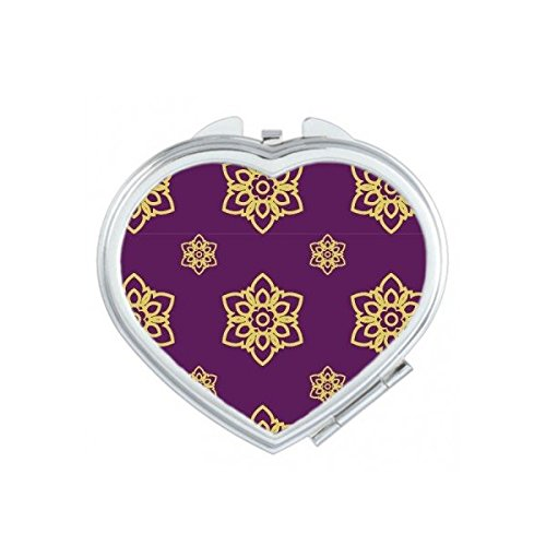 Kingdom of Thailand Thai Traditional Customs Purple Golden Weaving Decorative Pattern Satin Shrine Art Illustration Heart Compact Makeup Pocket Mirror Portable Cute Small Hand Mirrors by DIYthinker