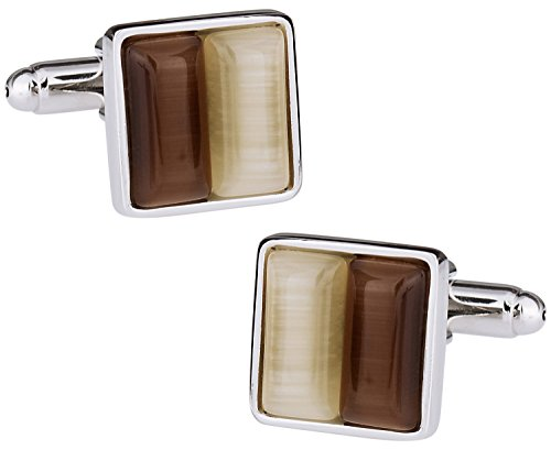 Cuff Daddy Gold Cufflinks (Cuff-Daddy Elegant Brown and Gold Square Cufflinks with Presentation Box)