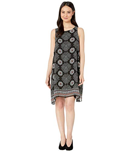 MAXSTUDIO Women's Printed GGT Trapeze Dress Black/Sage Med Scarf Panel Medium