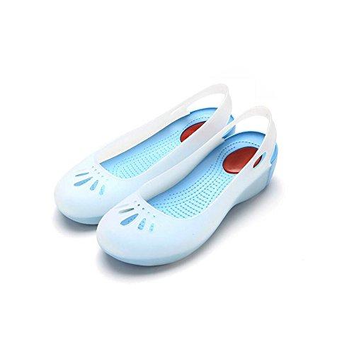 Eastlion Women's and Girl's Summer Jelly Sandals Garden Shoes Beach Clogs Blue 49UBg2oo0d