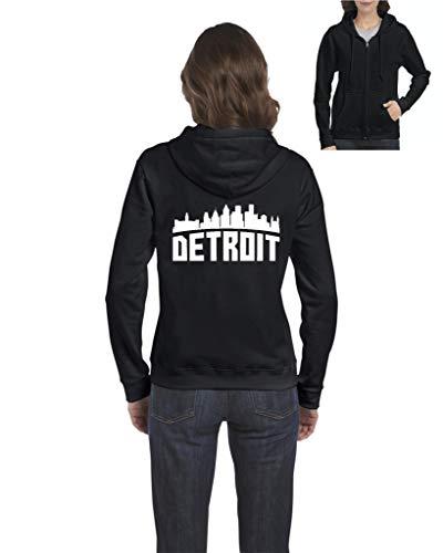 Detroit Most Visited US Cities Women's Full-Zip Hooded Sweatshirt (MB) Black]()