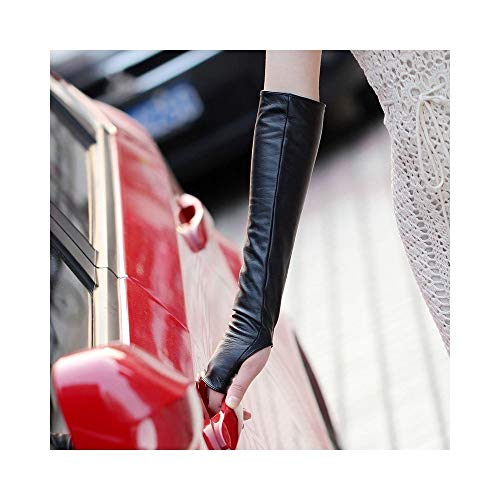Comfortable Long Arm Warmer Dress Up Fingerless Protect Gloves Leather Elbow Long Fingerless Driving Protect Gloves Color : Blac