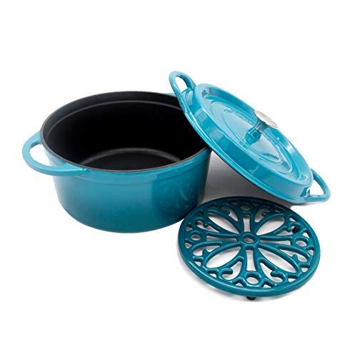 (Cast Iron Dutch Oven with Lid Enamel Cookware Trivet Dual Handles 7.5 Qt Blue T&H Danc)