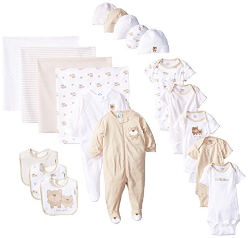 Gerber Unisex-Baby Newborn Adorable Bears Gift Bundle Set, Brown, 0-3 Months, 19 Piece