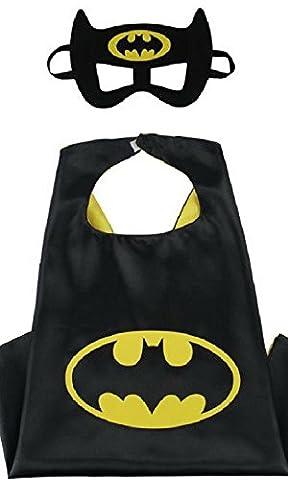 Honey Badger Brands Dress Up Comics Cartoon Superhero Costume with Satin Cape and Matching Felt Mask, Batman